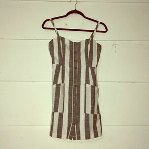 Forever 21 Grey & White Med Button Dress W/Pockets